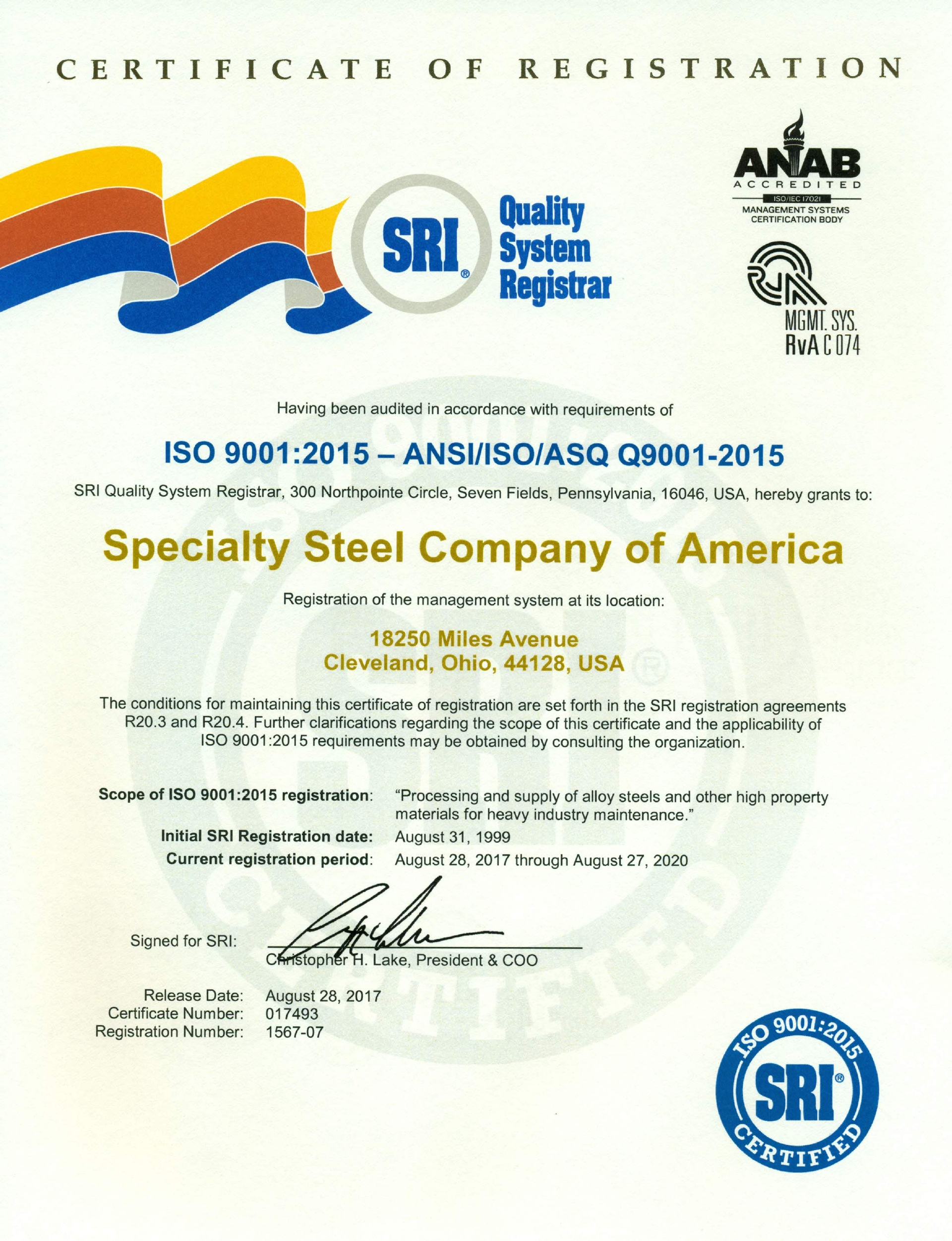 ISO Certification for Specialty Steel Company
